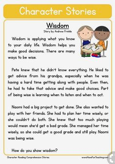 This Reading Comprehension Worksheet - Wisdom is for teaching reading comprehension. Use this reading comprehension story to teach reading comprehension. English Stories For Kids, Moral Stories For Kids, Short Stories For Kids, English Story, First Grade Reading Comprehension, Reading Comprehension Worksheets, Reading Fluency, Reading Passages, Comprehension Strategies