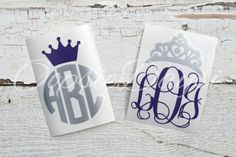Monogram Car Vinyl Decal Crown Decal Monogram Tiara by OopsieDaysi