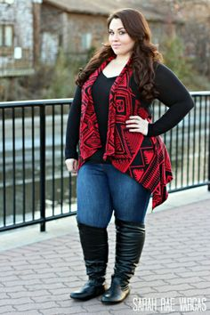 I have several long and short vest that give me a sense of covering either my muffin top or my bum.  I would probably wear booties versus tall boots with this look.