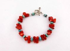 HOT Red Coral and Turquoise Beaded Bracelet  Gift by kitscreations