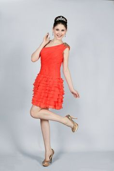 Red Thin Tiered Beading Spring Mid Back Natural Waist Hourglass Apple Cocktail Dress/ Homecoming
