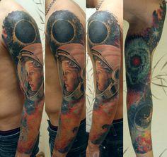 Helmet Tattoo, Tattoo Photos, Portrait, Tattoos, Style, Swag, Tatuajes, Headshot Photography, Tattoo