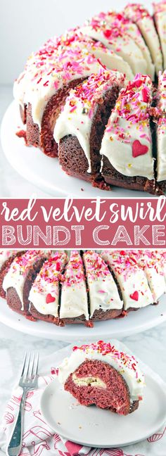 Red Velvet Bundt Cake: a traditional red velvet cake with a cream cheese swirl, mixed in one bowl. Perfect for Valentine's Day - or any day! {Bunsen Burner Bakery} #redvelvet #bundtcake #valentinesday #creamcheesefrosting via @bnsnbrnrbakery