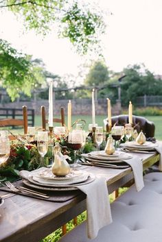 Best Moment On New Thanksgiving Dinner Inspiration: Fabulous Classic Outdoor Thanksgiving Dinner Decor Ideas Applied Tufted Bench And Rustic Wood Dining Table With Brass Candlesticks