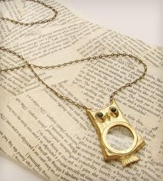 Owl Magnifying Glass Necklace | A real magnifying glass is encased in this dear owl's belly. T... | Necklaces