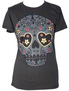 LOUNGEFLY Sugar Skull Gold - Girl-Shirt   Flaming Star Shop