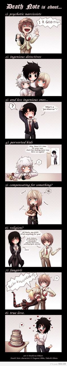 What Death Note is about. I have to say that the last one is my favorite XD LxCake is perfect XP