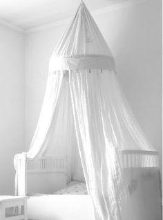 Sänghimmel vit bomull