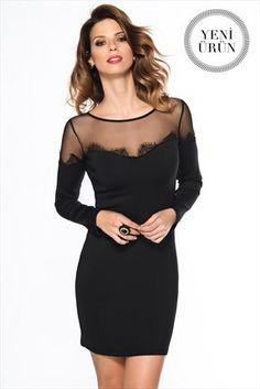 Milla by Trendyol - Dantel Detaylı Siyah Elbise indirimle ile Trendyol da