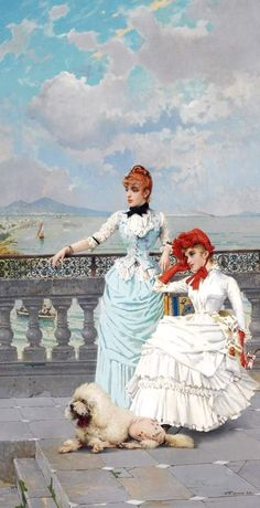 """Vittorio Matteo Corcos (Livorno, 1859-1933) """"Bellezze napoletane"""", 1885 olio su tela, 115 x 61 cm. Collezione privata"""