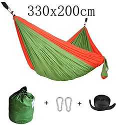 CUTEQUEEN TRADING Double Nest Parachute Nylon Fabric Hammock With Tree strapsColorGreenRed >>> Check out this great product. Note: It's an affiliate link to Amazon