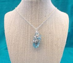 Beautiful Teal Sea Glass Necklace with by TheGreenEyedTurtle