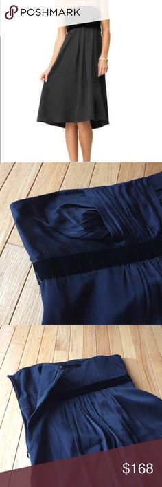 "Banana Republic black strapless silk dress Sz 12 Black silk, velvet empire waistband, rouched pleated bust, and side zipper. Great party dress for New Years Eve!  Length approx. 35"" bust across pit to pit 17.5"". l Banana Republic Dresses Strapless"