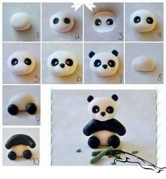 How to make modeling clay with children - step by step patterns - Anniversaire - Kuchen Dekorieren - kuchen kindergeburtstag Fondant Cake Toppers, Fondant Figures, Cupcake Toppers, Cake Fondant, Cupcake Ideas, Polymer Clay Animals, Polymer Clay Crafts, Bolo Panda, Panda Cakes