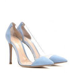 Gianvito Rossi Suede and Transparent Pumps ($540) ❤ liked on Polyvore featuring shoes, pumps, heels, blue, обувь, gianvito rossi, blue heel shoes, suede shoes, blue suede pumps and see-through shoes