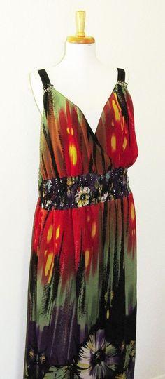 Women's Sundress 2X, Full-Length, Multi-Colored, Plus, Red, Spaghetti Strap #Heirloom #Sundress #Clubwear