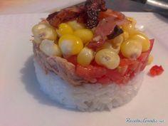 Aprende a preparar ensalada de arroz con atun y tocineta con esta rica y fácil receta. Alistar todos los ingredientes. En un sarten sofreímos el maíz crudo con 2 o 3...