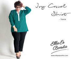 Ivy Casual Shirt - This shirt features high quality woolpeach and cotton which specially designed for sophisticated curvy women originally made by Indonesian Designer & Local Brand: Ella Es Bonita. Available at www.ellaesbonita.com