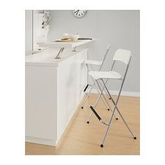 """FRANKLIN Bar stool with backrest, foldable, white, silver color - white/silver color - 29 1/8 """" - IKEA"""