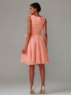 V-neck Bows Dress; Color: Dusty Coral; Sizes Available: 2-26W, Custom Size; Fabric: Chiffon