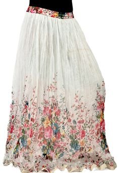 White Faux Chiffon Readymade Ankle Length Skirt Online Shopping: BLJ120