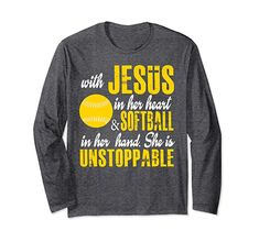 Amazon.com: Unisex Christian Softbal Long Sleeve Shirt -Softball Lifestyle Gifs Small Black: Clothing