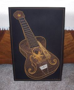 vintage gold guitar string art - 3D signed on Etsy, $50.00