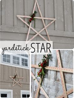 DIY Christmas Decorations | Christmas decor can be straight up PRICEY. I adore this idea for making a large star from yardsticks!