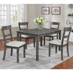 American Freight offers casual dining room furniture sets, including dinette sets with a chair, table, and bench. Kitchen Dining Sets, Counter Height Dining Sets, Dining Room Sets, Dining Room Table, A Table, Kitchen Ideas, Kitchen Banquette, Solid Wood Dining Set, 5 Piece Dining Set