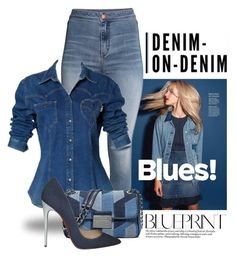 Double Down on Denim 1409 by boxthoughts on Polyvore featuring polyvore fashion style Moschino H&M Christian Louboutin MICHAEL Michael Kors clothing Denimondenim