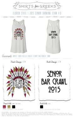 Senior Bar Crawl Shirt 2015 #southbysea #sororityshirts #greekshirts #SxS #sorority #seniorshirt www.SouthBySea.com