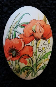 Osterei - Gänseei mit Aquarellfarben bemalt - Mohnblumen-Motiv