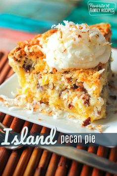 This Island Pecan Pie recipe comes from a famous pie diner in Arkansas. This Island Pecan Pie recipe comes from a famous pie diner in Arkansas. It is loaded with pineapple, coconut, and pecans in a delicious creamy filling. 13 Desserts, Delicious Desserts, Dessert Recipes, Yummy Food, Coconut Desserts, Plated Desserts, Dessert Healthy, Recipes Dinner, Best Pecan Pie