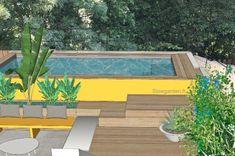 piscine hors sol,piscine bois,piscine marseille,bassin,petite piscine,slowgarden Diy Jardin, Outdoor Furniture Sets, Outdoor Decor, Spa, Landscape Design, Villa, Swimming, Water, Plants