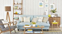 Scandi-style Living Room with Blue and Yellow Accents
