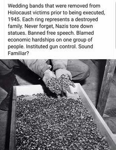 Nazis blamed economic hardships on one group of people. They banned free speech. Pictured: wedding rings taken from killed Jewish families. Liberal Hypocrisy, Liberal Logic, Socialism, Liberal Left, Political Views, Political Art, Frases
