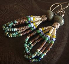 Jasper Glass and African Beaded Earrings by yuccabloom on Etsy, $42.00