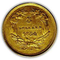 1854 Dahlonega $3 Gold Coin Reverse