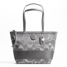 Coach Signature Stripe 3 Color Signature Metallic Tote Handbag: from $146.00