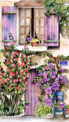 Watercolor Landscape, Landscape Paintings, Watercolor Paintings, Graffiti Kunst, Decoupage, Beautiful Paintings, Painting Inspiration, Cute Art, Painting & Drawing
