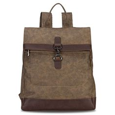 Hynes Eagle Stylish Roll Top Canvas Backpack Lightweight ...