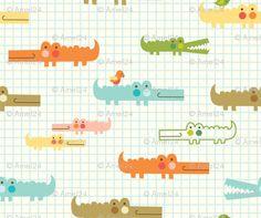Crocodile patterned fabric by amel24 (via Spoonflower). Cute illustration style!!