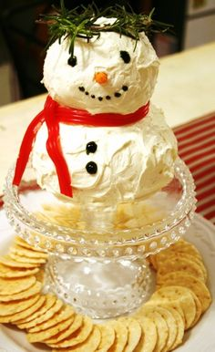 Decorate your Christmas finger food with snowman. And your kids will like it. #christmas finger #food www.loveitsomuch.com