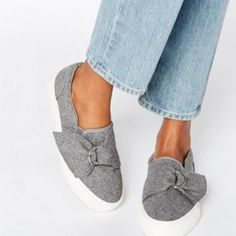 Buy Gray Asos Basic sneakers for woman at best price. Compare Sneakers prices from online stores like Asos - Wossel United States Slip On Sneakers, Slip On Shoes, Shoes Sneakers, Formal Shoes, Casual Shoes, Zapatos Slip On, Denim Sandals, Asos Shoes, Strappy Shoes