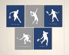 Please visit my shop: https://www.etsy.com/shop/PicabooArtStudio This is a set of 5 tennis style prints, printed on high quality matt archival