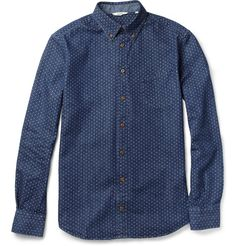 NN.07 Chivas Dot-Print Cotton-Twill Shirt | MR PORTER $165