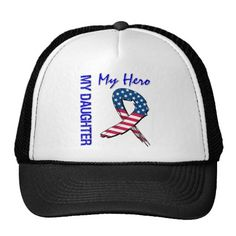 My Daughter My Hero Patriotic Grunge Ribbon Trucker Hat