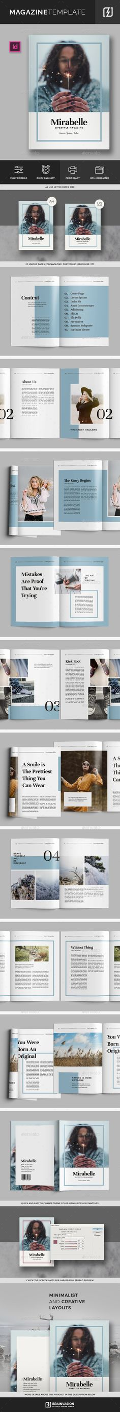 Magazine Template Vol.02 by Brainvasion Minimal and creative template can be used for magazine, portofolio, brochure, etc. Features20 Unique pages A4&US Letter size Print