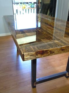 SALE - Reclaimed Pallet Dining Table - Conference Table - Metal Legs - Walnut Stain - Epoxy Resin by SibusFurnitureDecor on Etsy https://www.etsy.com/listing/263470971/sale-reclaimed-pallet-dining-table