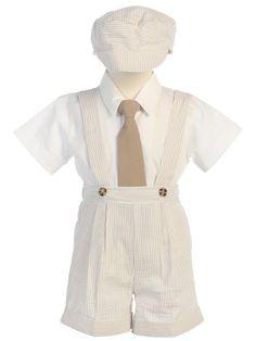 DapperLads - 4 Pc Seersucker Suspender Shorts Set - Khaki - Infant / Baby Boy - infant size boys clothing, clothes for infants and baby boys